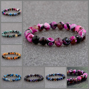 Natural Lava Stone 8MM Colorful Beads Hand Beads Beaded Couples Bracelets Gift $6.90
