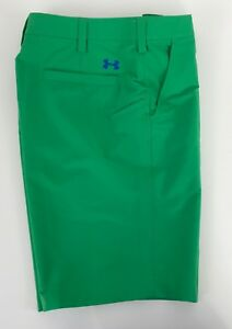 Under Armour Mens 34 Green Flat Front Casual Golf Shorts X-18