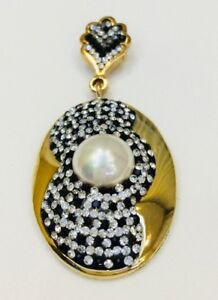 Turkish Jewelry Pearl Sterling Silver Statement Handmade Necklace Pendant