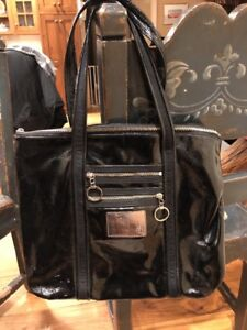 Black Patent Leather Coach Poppy Large Hobo Satchel Handbag!