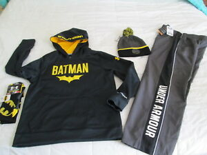 NEW Boys 4pc UNDER ARMOUR BATMAN STORM Hoodie+Pants+Socks+Beanie YLG  FREE SHIP