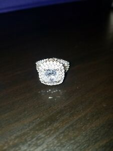 Gold over SS 925  Statement Cocktail RingEngagement White Topaz Ring Size 6