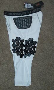 Mens Under Armour Gameday D307 Football Pads Girdle White Compression Shorts 2XL