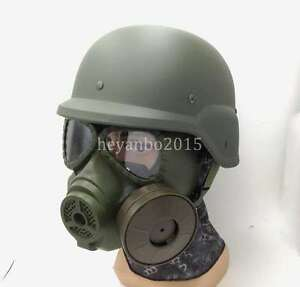 SET TACTICAL AIRSOFT SWAT M88 HELMET ARGAME PROTECTION DUMMY M04 GAS MASK GREEN