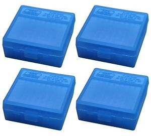 NEW MTM 100 Round Flip-Top 38357 Cal Ammo Box - Clear Blue (4 Pack)