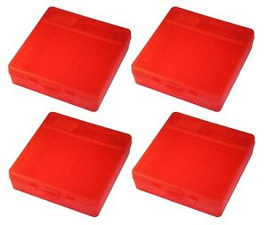NEW MTM 100 Round Flip-Top 40/45/10MM Cal Ammo Box - Clear Red (4 Pack)