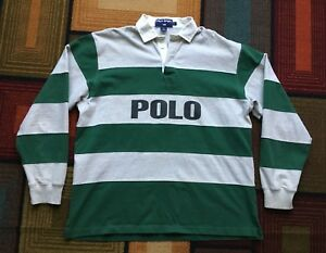 Vintage Polo Sport Ralph Lauren USA Spellout Rugby Long Sleeve Shirt Striped L