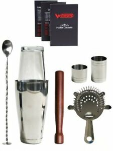 Winware Boston Cocktail Shaker Gift Set and Pocket Cocktail Guide with Winwar...