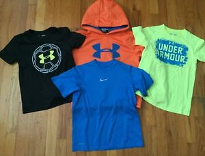 UNDER ARMOUR NIKE BOY YOUTH SMALL LOT OF 4 T SHIRTS SWEATSHIRT HOODIE