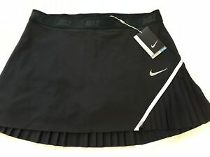 NEW NWT NIKE WOMEN'S PLEATED GOLF TENNIS SKIRT BLACK MED DRI FIT SPANDEX SHORTS