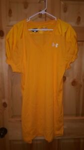 UNDER ARMOUR Men FOOTBALL Heat GEAR Loose FIT Training SHIRT YELLOW XL Cool Dry