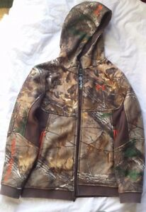 Under Armour Cold Gear Storm Realtree Camo Zip Up Hoodie Jacket Youth Large