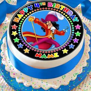 CAPTAIN HOOK HAPPY BIRTHDAY PERSONALISED 7.5 INCH PRECUT EDIBLE CAKE TOPPER A085