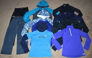 Lot of 9 Girl's Under ArmourNike HoodiesLong Sleeve ShirtsPants Size M