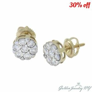 14K Yellow  White Gold Genuine Diamond Cluster Flower Screw Back Earrings
