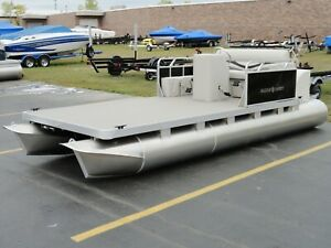 15' Paddle Qwest Pedal Powered Pontoon Boat w Large Drive Wheel FAST SEE VIDEO