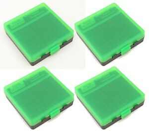 NEW MTM 100 Round Flip-Top 3809MM Ammo Box - Green Black (4 Pack)