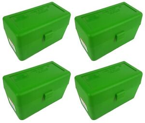 NEW MTM 50 Round Flip-Top 270 Win 280 Rem 30-06 Rifle Ammo Box - Green (4 Pack)