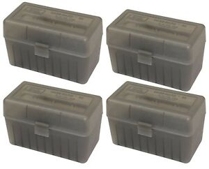NEW MTM 50 Round Flip-Top 270 Win 280 Rem 30-06 Rifle Ammo Box - Smoke (4 Pack)