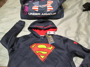 NEW Boys UNDER ARMOUR Alter Ego SUPERMAN Hoodie COLDGEAR Blue YLG  FREE SHIPPING