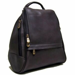 Le Shops Donne Leather Zip Mid Size BackpackPurse (Caf)