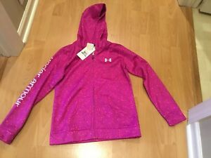 Youth Girls Under Armour ColdGear Full Zip Hoodie Jacket Pink Purple Sz YLG NWT!