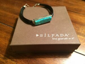 Silpada True Colors Link Bracelet - Sterling Silver - Leather - Turquoise