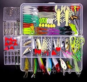 QAZZ 234PCS Fishing Lure Set Including Frog Lures Soft Hard Metal VIB Rattle Jig