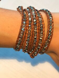 Chan Luu Swarovski Crystal Brown Leather Wrap Bracelet