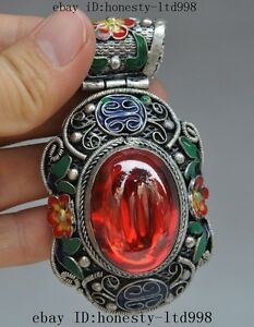 chinese tibetan silver Cloisonne Inlay Rubies Red Gem flower Pendant Jewelry