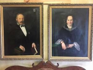 Antique Paintings Portraits Oil Framed of Man and Wife 1800s Impressive $2878.87