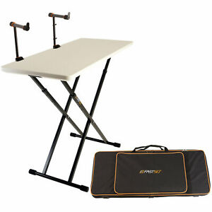 Fastset Fast-Attach Keyboardist Bundle (white) with Table V2 & Keyboard Stand