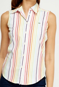 Womens lacoste sleeveless striped shirt ...  limited numbers left