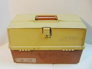 Vintage 747 Plano TACKLE Box Storage HUGE Fishing lure travel box drawers