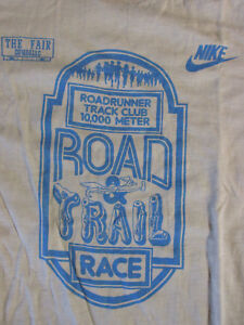 Vintage 1980s NIKE Road Trail Race T-Shirt Running Roadrunner Track Club Indiana