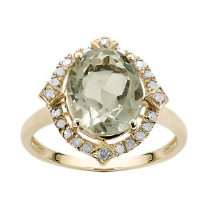 10k Yellow Gold Oval Green Amethyst and Diamond Halo Ring