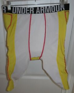 Mens Under Armour Heatgear MPZ2 Football Gear Padded Shorts  Girdle XL Yellow