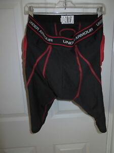 Mens Under Armour MPZ Football Padded Compression Shorts Girdle XL Black Red