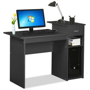 Yaheetech Small Spaces Home Office Black Computer Desk with Drawers and 2...