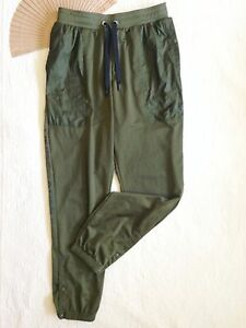 Under Armour Retro '90s Women's Track Warm-up Pants Olive Green Snap Ankles Sz M