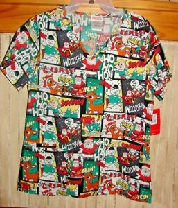RUDOLPH THE RED NOSED REINDEER NURSES SCRUBS SMOCK SIZES XS XL 2XL 3XL NWTS