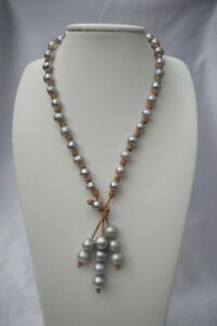 Leather & Pearl Necklace Knotted Leather Cord with Lustrous Fresh Water Pearl
