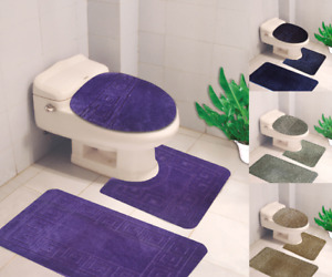 BANDED BATHROOM BATH MAT SET ABSORBENT NON-SLIP RUBBER BACKING RUGS 3PC SET#10