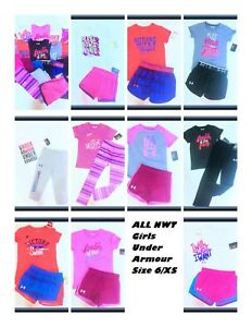 NWT Girls Under Armour LOT 6 XS Shirt Shorts Pants Legging Outfit Sets NEW 19pc