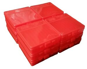 NEW MTM 100 Round Flip-Top 404510MM Ammo Box - Clear Red (12 Pack)