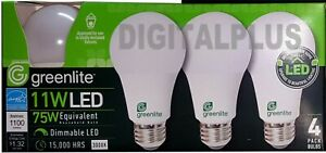 LED Light Bulbs GREENLITE 11W / 75W Equivalent Warm White 3000K A19 Dimmable !!