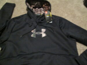 NEW Mens UNDER ARMOUR STORM 1 Hoodie Blk REAL TREE XTRA UA Logo LG FREE SHIP