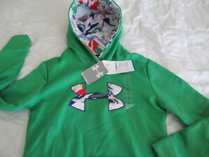 NEW Girls UNDER ARMOUR COLDGEAR Pullover Hoodie HOLIDAY Grn YMD 10-12 FREE SHIP!
