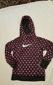 NIKE GIRLS' THERMAFIT TENNISRUNNING HOODIE  678666-667 $50 BLACK PINK SZ L
