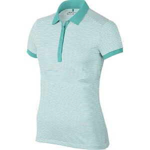Nike Golf Womens Dri-Fit Striped Victory Swoosh Polo Shirt TealWhite 725585 352